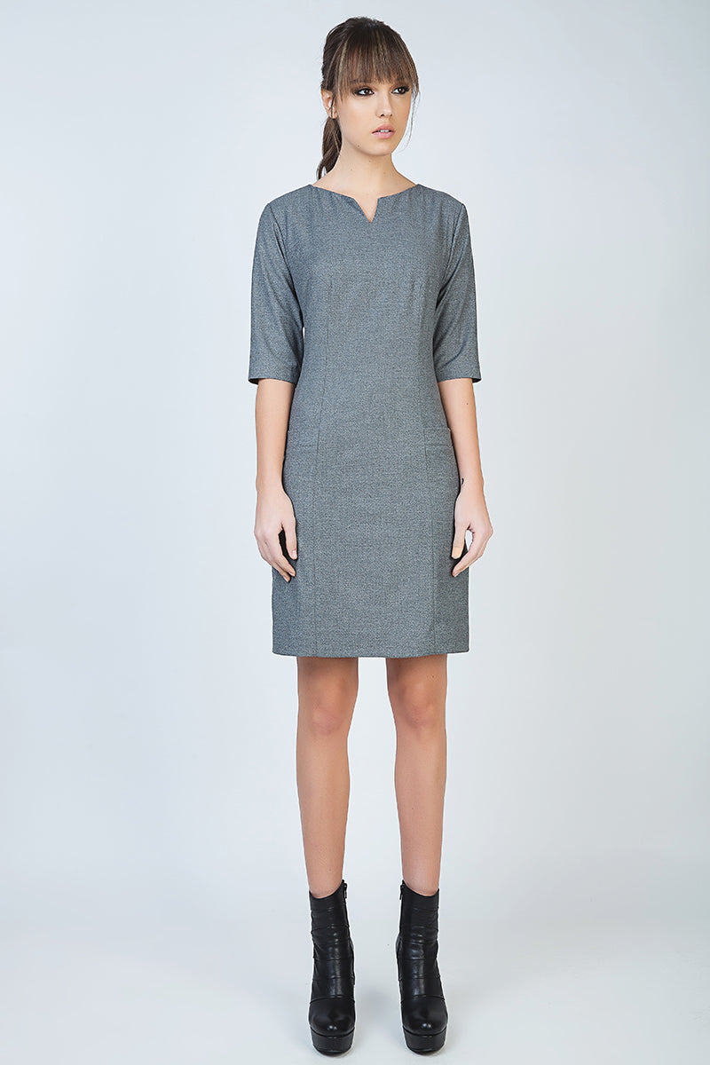 Elbow Sleeve Straight Tailored Dress