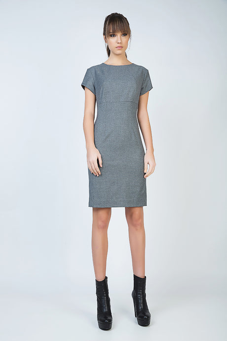 Short Sleeve Straight Tailored Dress