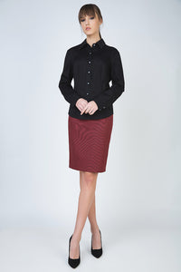 Pencil Skirt with Belt Detail