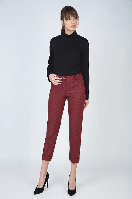 Cropped Tapered Pants with Turn Ups