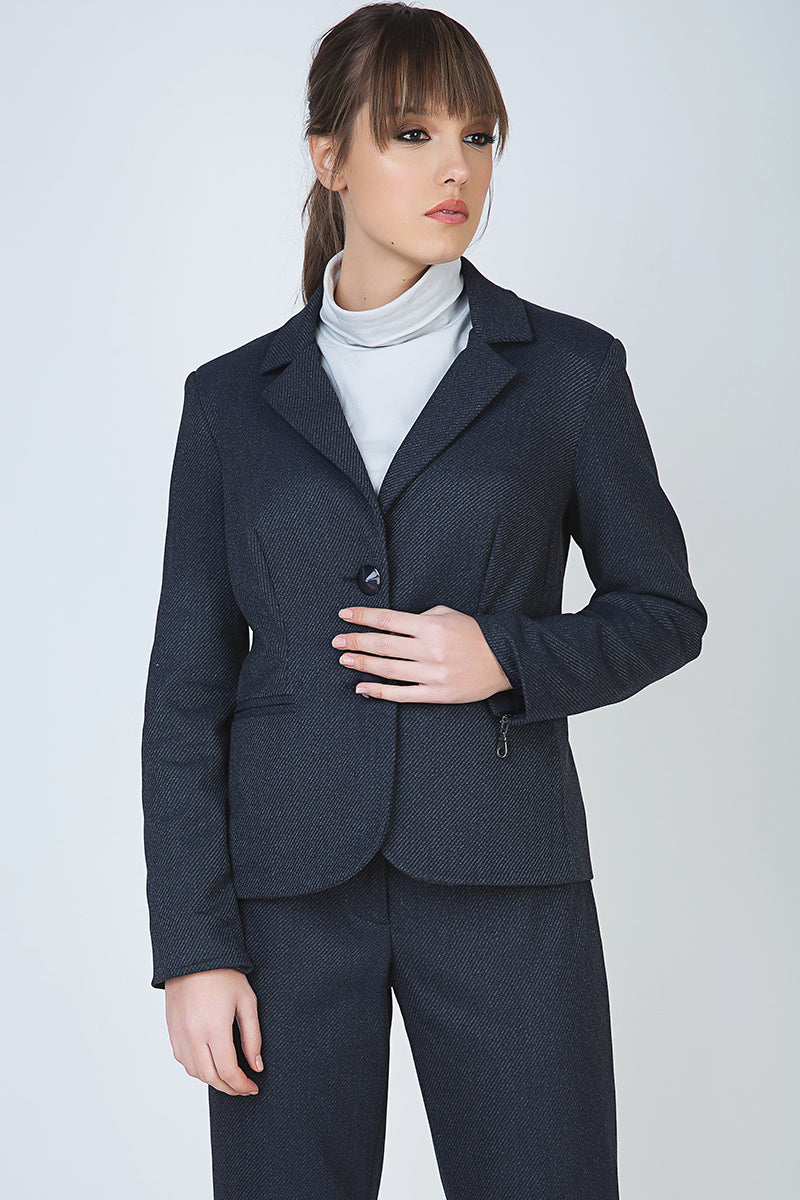 Button Blazer with Zip Detail
