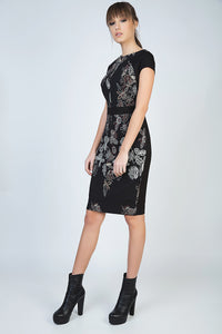 Print Cap Sleeve Dress with Waistband