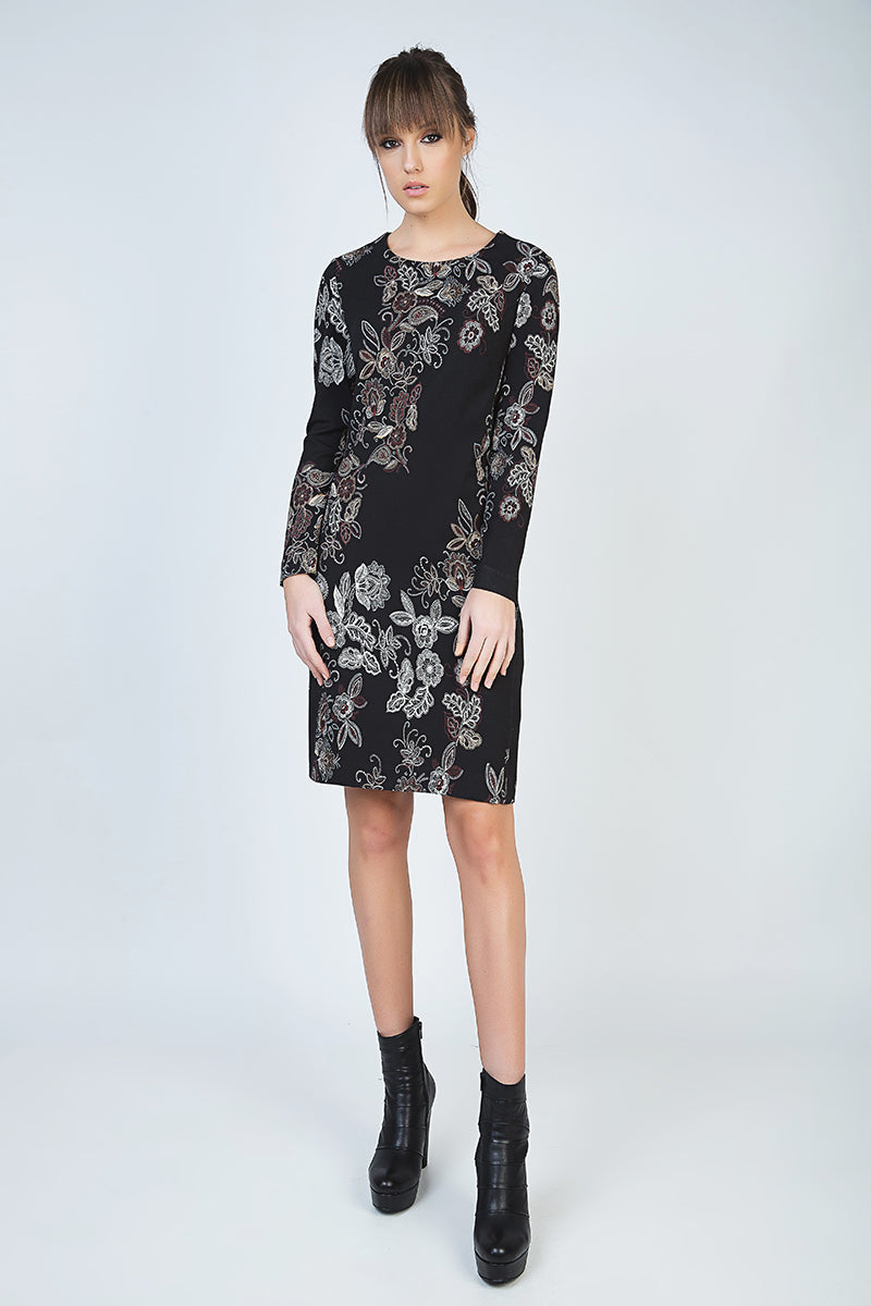 Print Long Sleeve Straight Dress