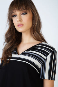 Stripe Detail A Line Dress