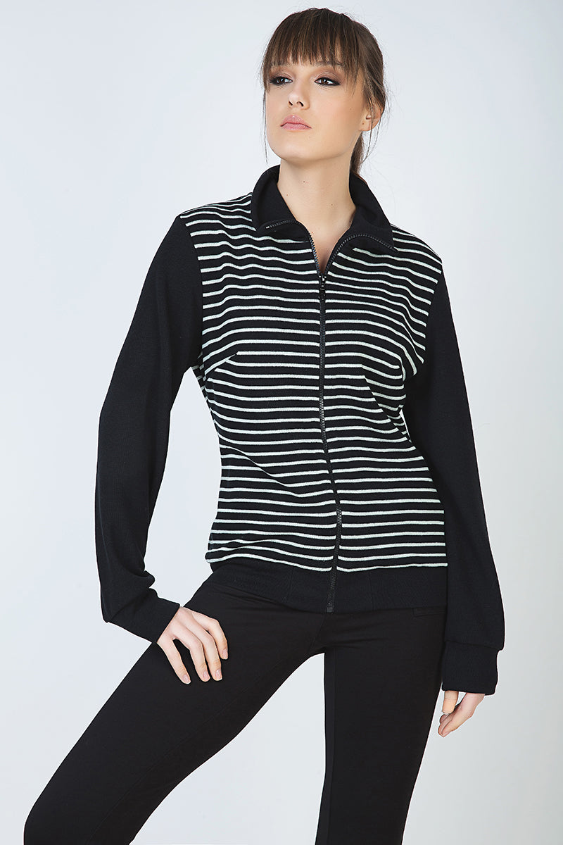 Long Sleeve Cardigan in Striped Knit Fabric