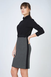 Striped Pencil Skirt in Rib Knit Fabric