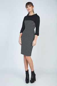 Fitted Winter Dress in Striped Rib Knit Fabric