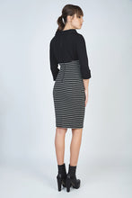 Load image into Gallery viewer, Fitted Winter Dress in Striped Rib Knit Fabric