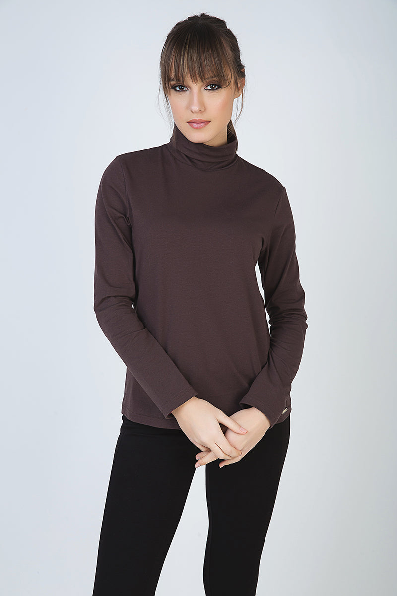 Brown Long Sleeve Polo Neck Jumper