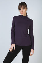 Load image into Gallery viewer, Purple Long Sleeve Polo Neck Jumper