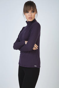 Purple Long Sleeve Polo Neck Jumper