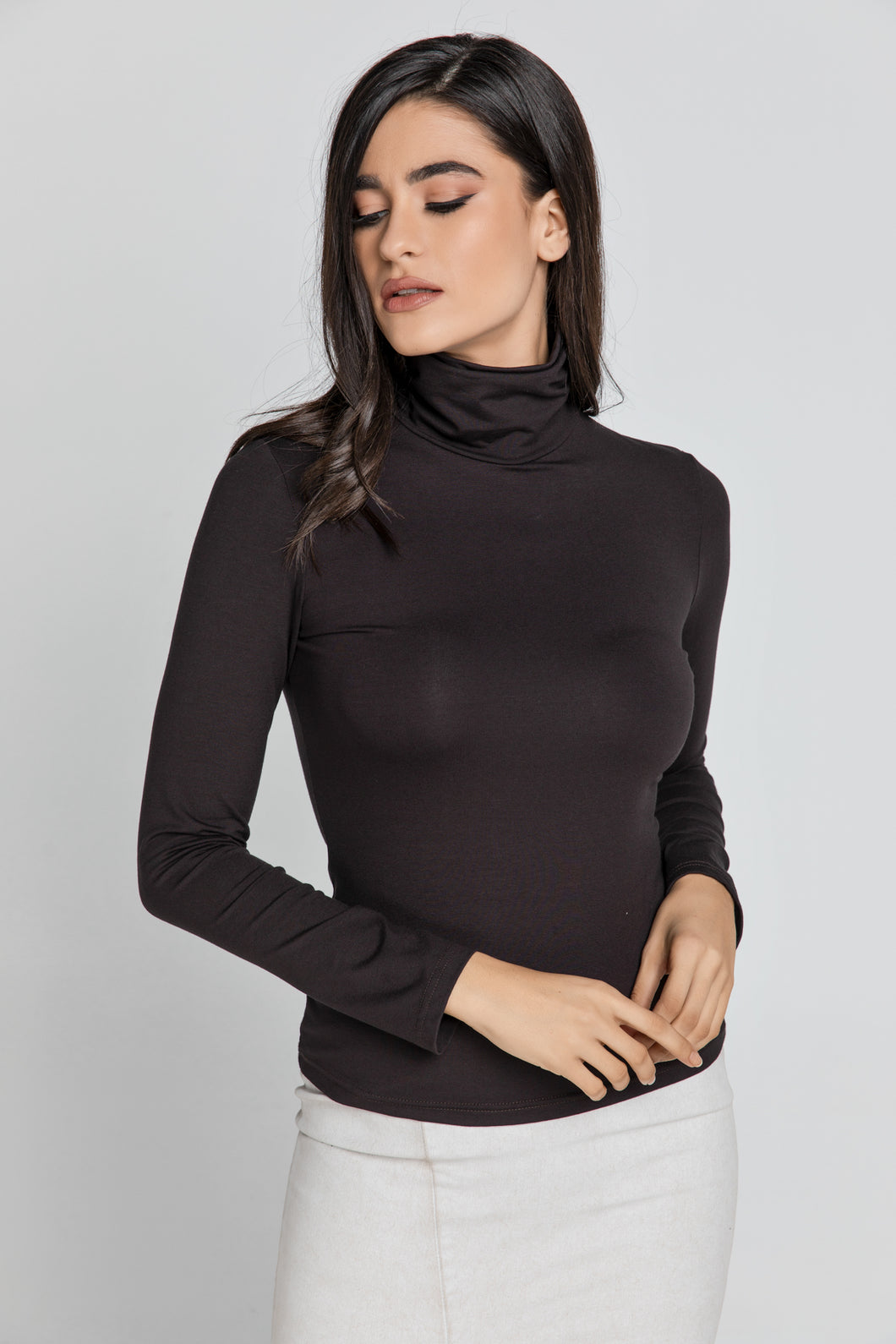 Dark Brown Turtle Neck Top By Conquista