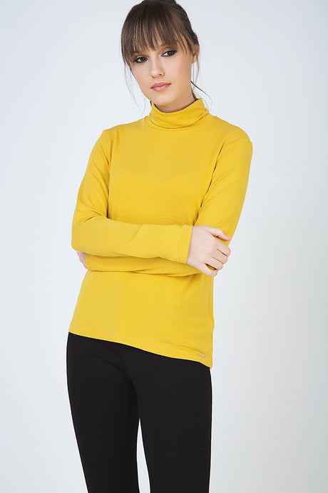 Yellow Long Sleeve Polo Neck Jumper