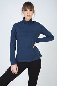 Navy Long Sleeve Polo Neck Jumper