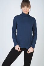 Load image into Gallery viewer, Navy Long Sleeve Polo Neck Jumper