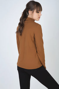 Biscuit Colour Long Sleeve Polo Neck Jumper