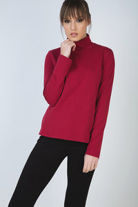Burgundy Long Sleeve Polo Neck Jumper