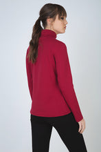 Load image into Gallery viewer, Burgundy Long Sleeve Polo Neck Jumper