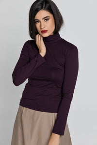 Purple Turtle Neck Top By Conquista