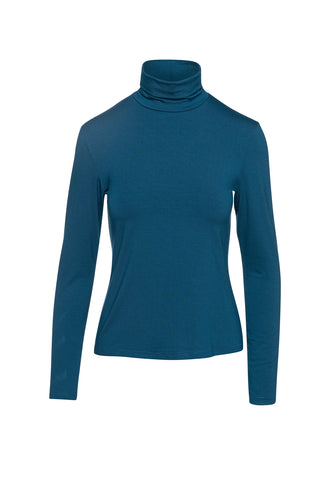 Petrol Turtle Neck Top By Conquista in Sustainable Fabric