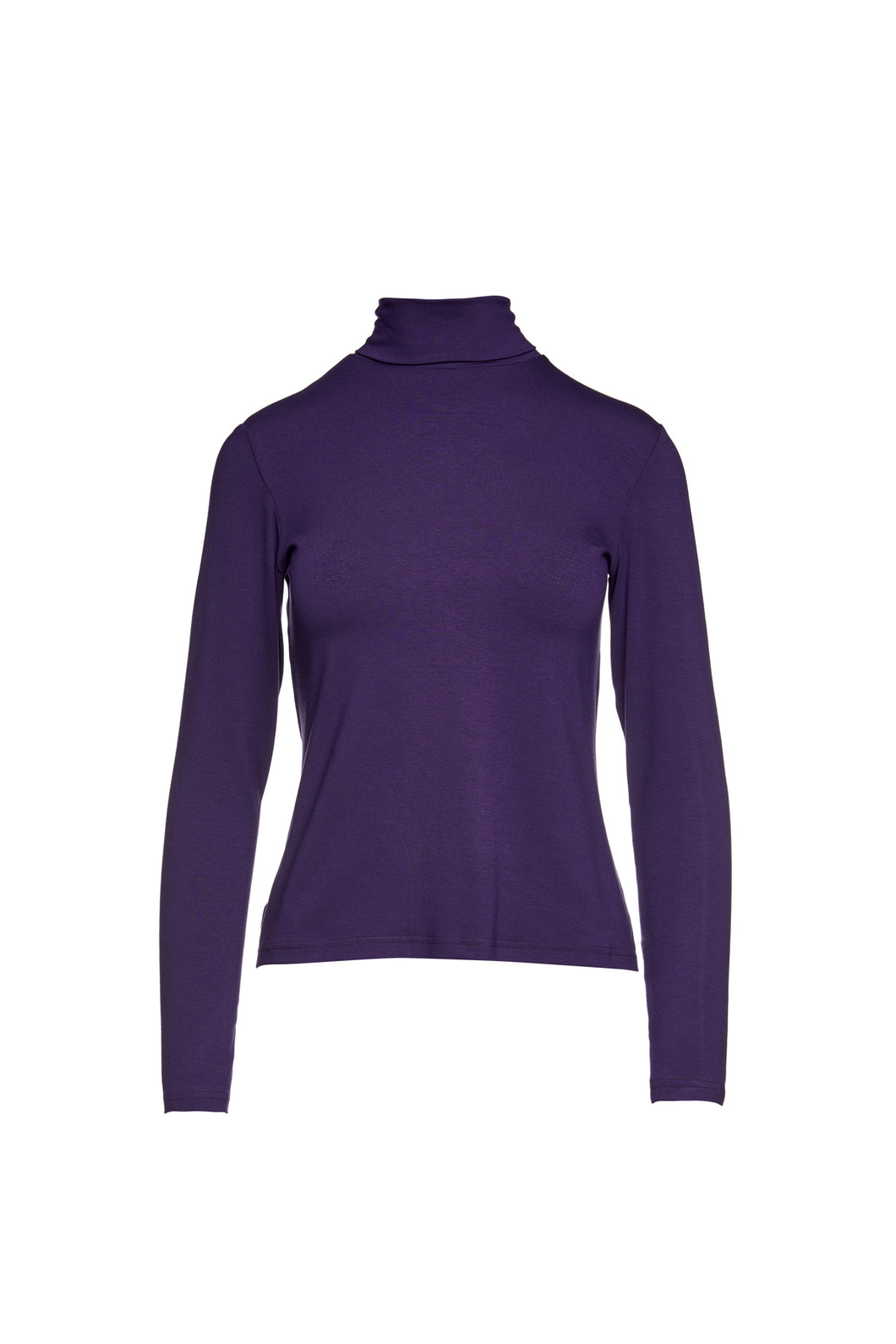Aubergine Colour Long Sleeve Polo Neck Jumper