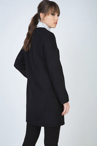 Black Winter Coat in Woven Fabric