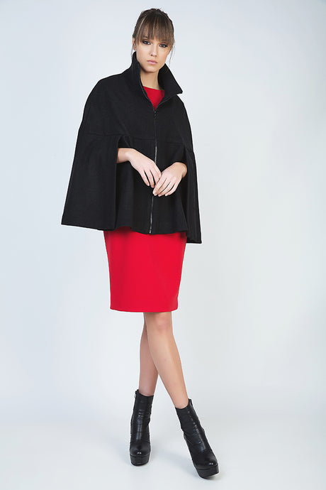Black Winter Cape in Woven Fabric