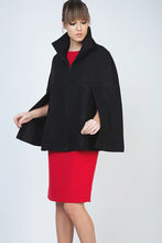 Load image into Gallery viewer, Black Winter Cape in Woven Fabric