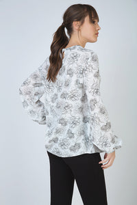 Long Sleeve Floral Top with Round Neckline and Button Fastening at the Nape by Conquista Fashion