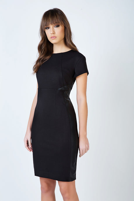 Short Sleeve Black Dress in Crepe Fabric
