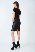 Load image into Gallery viewer, Short Sleeve Black Dress in Crepe Fabric