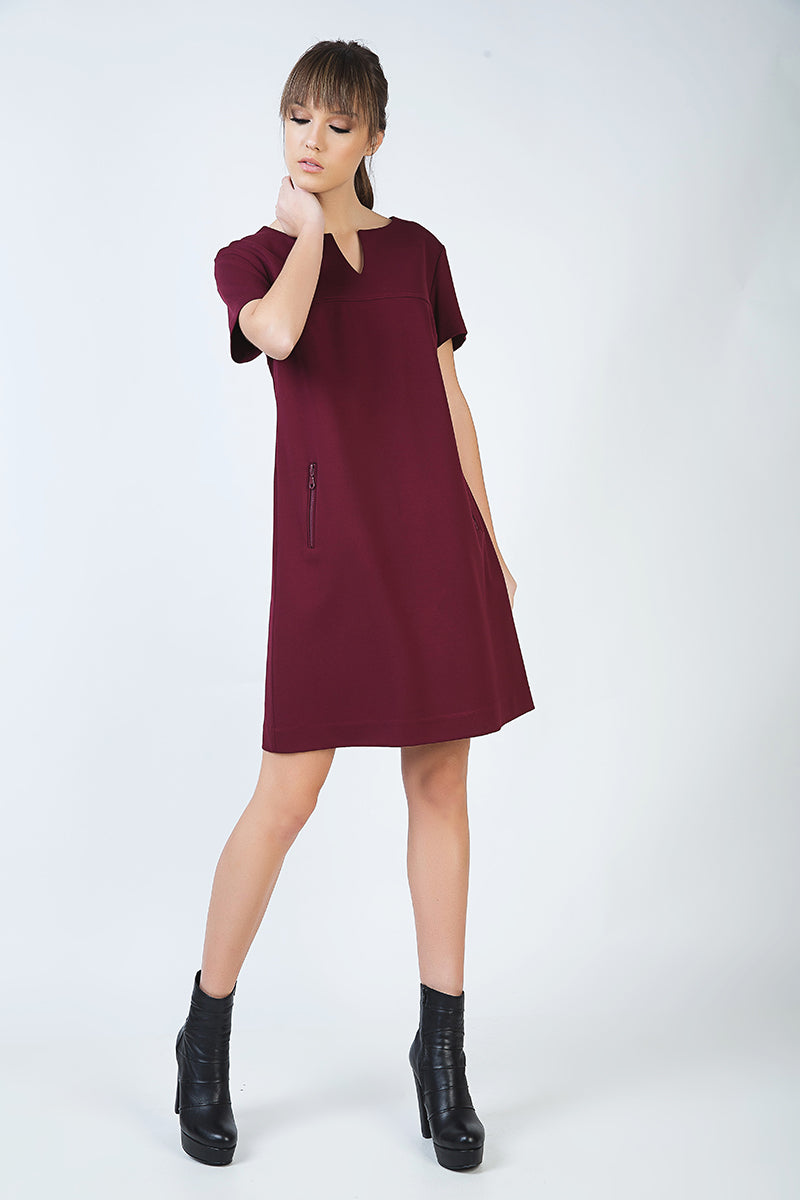 Burgundy Sack Dress in Stretch Punto di Roma Fabric