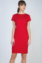 Load image into Gallery viewer, Red Short Sleeve Dress in Stretch Fabric