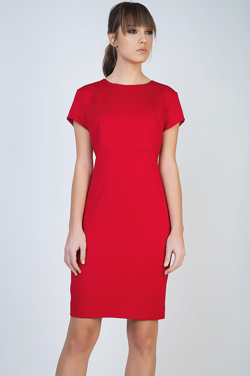 Red Short Sleeve Dress in Stretch Fabric