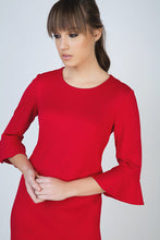 Load image into Gallery viewer, Sleeve Detail Red Dress in Stretch Punto di Roma Fabric