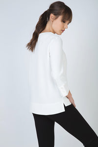 Button Detail Top in Crepe Fabric