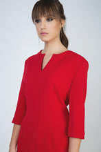 Load image into Gallery viewer, Red Panel Detail Dress in Crepe Fabric