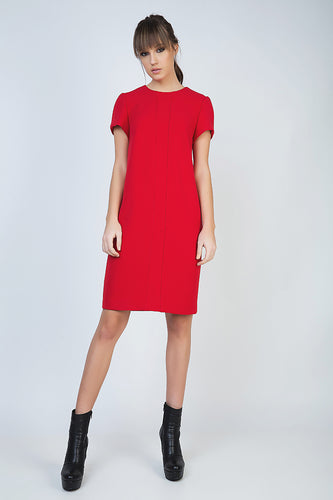 Short Sleeve Red Dress with Panel Detail