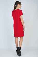 Load image into Gallery viewer, Short Sleeve Red Dress with Panel Detail