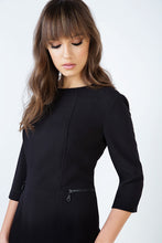 Load image into Gallery viewer, Fitted Black Pocket Detail Dress in Crepe Fabric