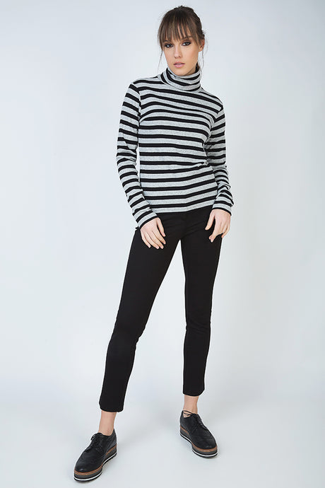 Striped Black and Grey Polo Neck Jumper