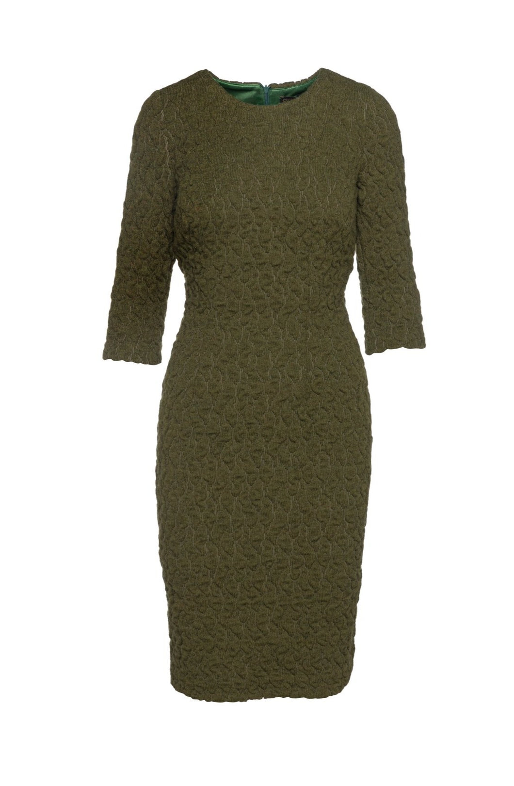 Khaki Jacquard Dress By Conquista Fashion