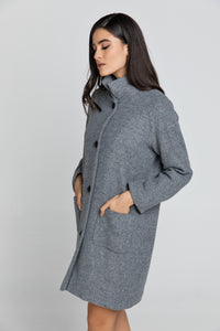 Wool Blend Grey Coat by Conquista Fashion
