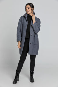 Wool Blend Grey Mélange Coat by Conquista Fashion
