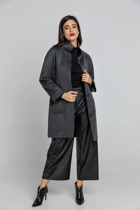 Wool Blend Dark Grey Coat by Conquista Fashion