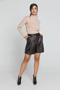 Brown Faux Leather Bermuda Shorts by Conquista Fashion
