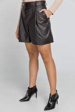 Load image into Gallery viewer, Brown Faux Leather Bermuda Shorts by Conquista Fashion