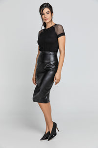 Black Faux Leather Pencil Skirt by Conquista Fashion