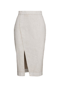 Cream Pencil Skirt in Sand