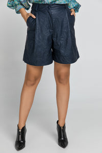Blue Faux Leather Bermuda Shorts